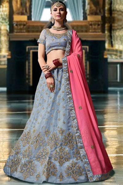 Slate Blue and Pink Organza Silk Lehenga Set