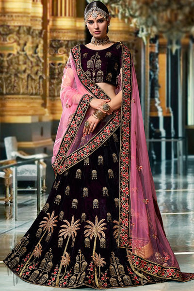 Wine and Mauve Velvet Lehenga Set