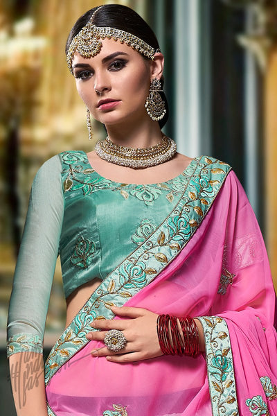 Sea Green and Magenta Organza Silk Lehenga Set