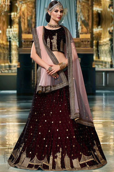 Dark Maroon and Light Peach Velvet Lehenga Set