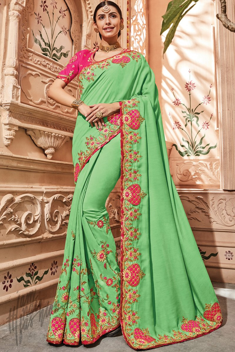 Green and Magenta Silk Saree
