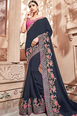 Denim Blue and Magenta Silk Saree