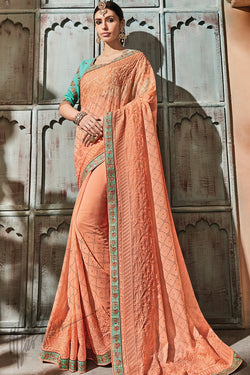 Peach and Sky Blue Silk Saree