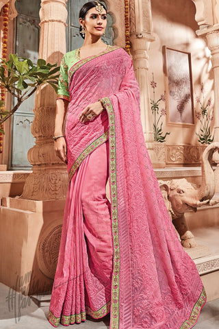 Baby Pink and Leaf green Silk Saree