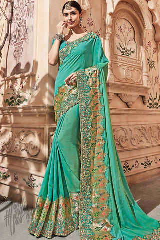 Firozi Blue Silk Saree