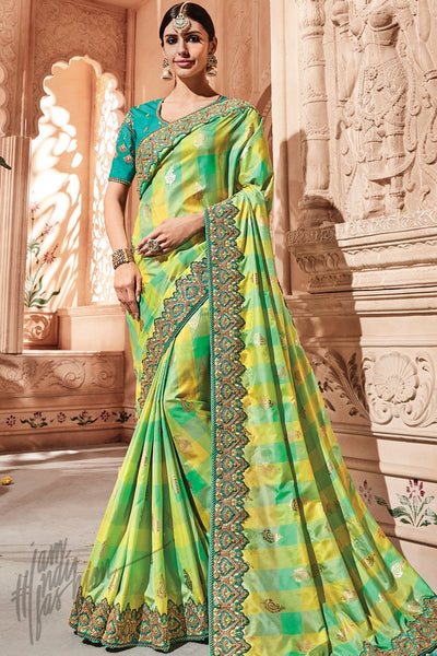 Yellow Green and Firozi Silk Saree
