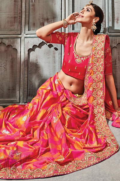Magenta Mustard and Red Silk Saree
