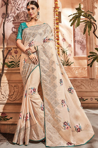 Light Coffee and Firozi Silk Saree