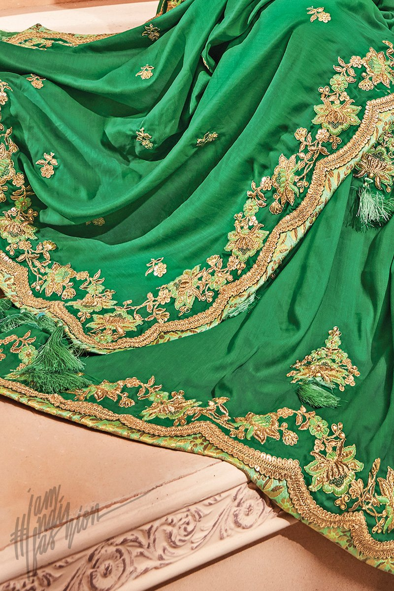 Dark and Leaf Green Silk Saree