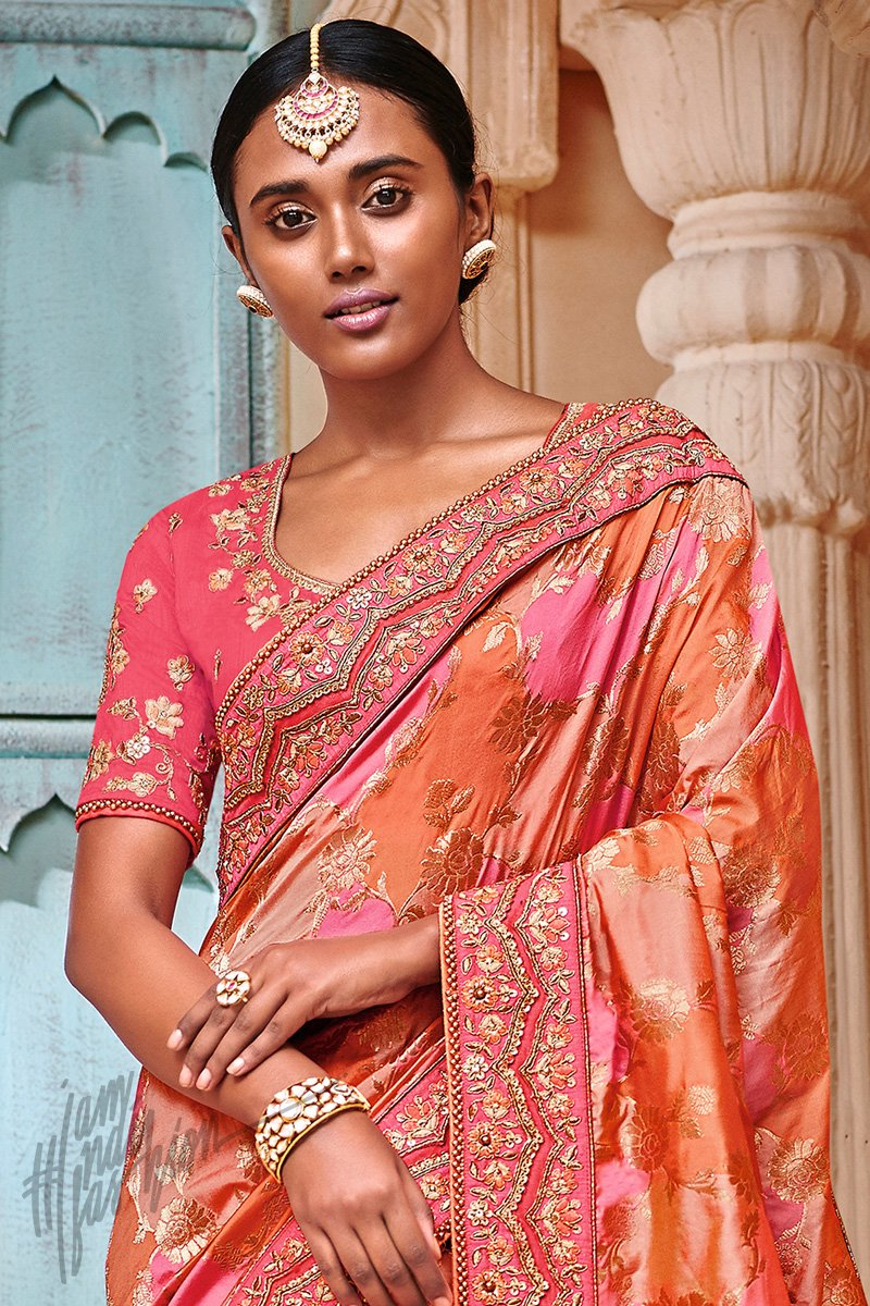 Peach Orange and Pink Banarasi Jacquard Silk Saree