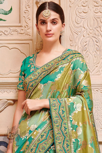 Green Banarasi Jacquard Silk Saree