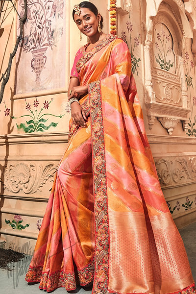 Yellow Peach and Pink Banarasi Jacquard Silk Saree