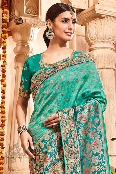Sea Green Banarasi Jacquard Silk Saree