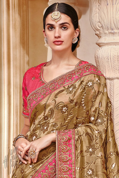 Golden Brown and Pink Banarasi Jacquard Silk Saree