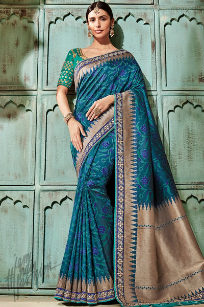 Blue and Green Banarasi Jacquard Silk Saree