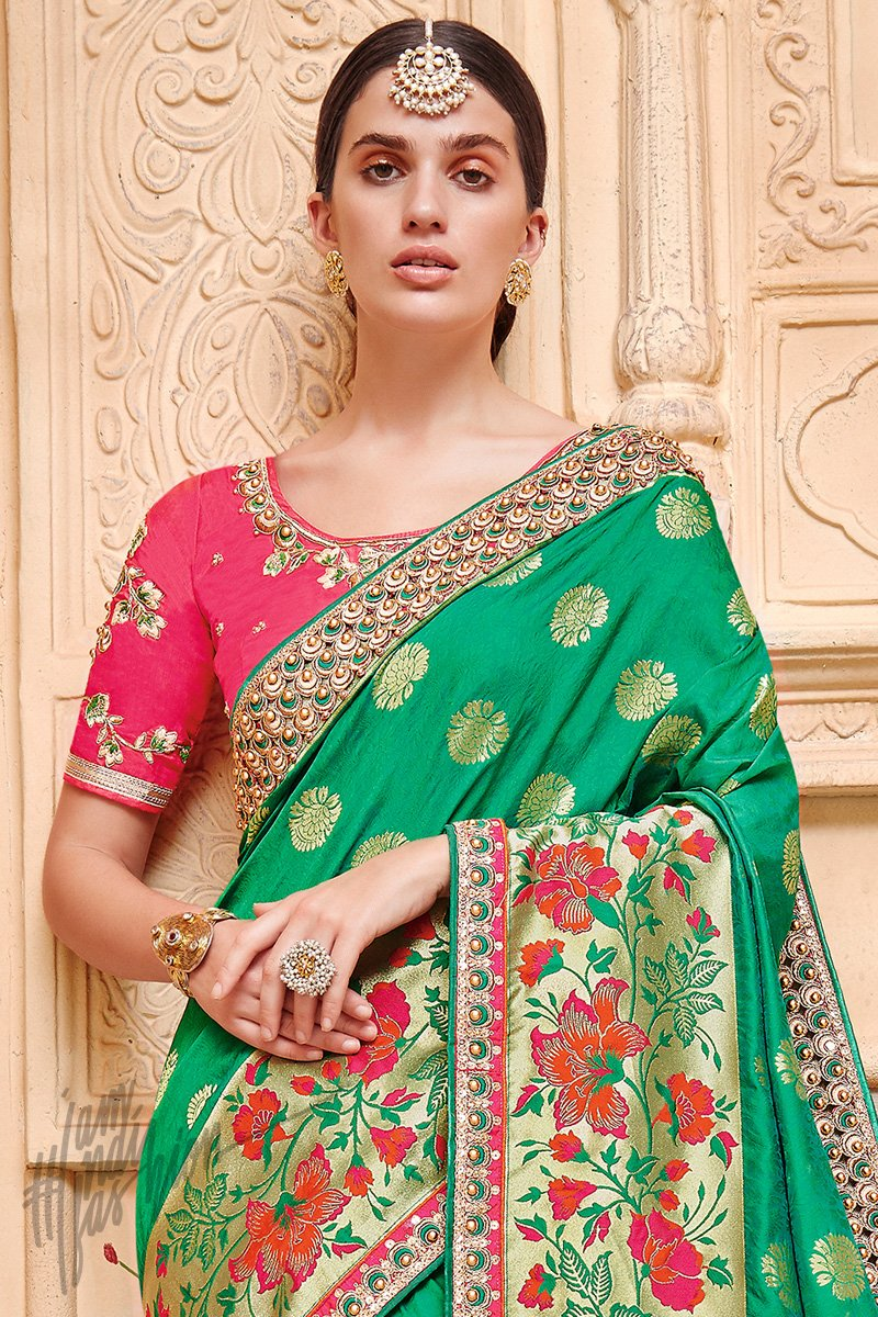 Green and Red Banarasi Jacquard Silk Saree