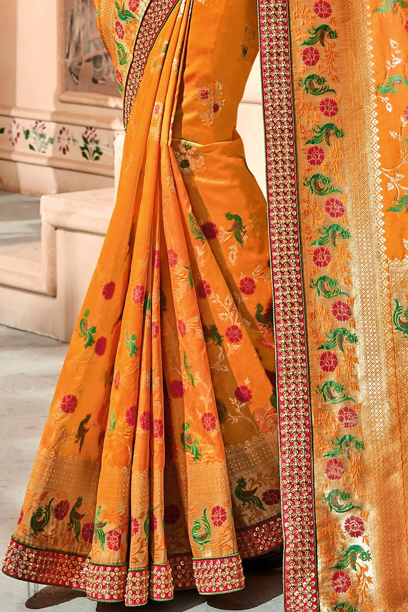 Mustard Yellow and Red Banarasi Jacquard Silk Saree