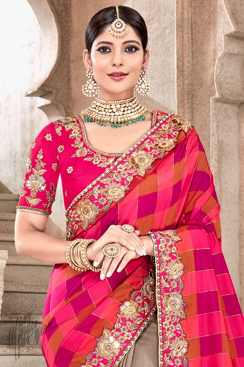 Pink and Coffee Banarasi and Dola Silk Half and Half Saree