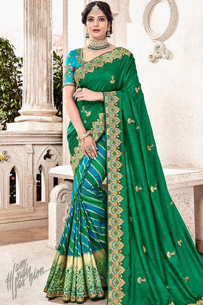 Green and Sky Blue Banarasi and Dola Silk Half and Half Saree
