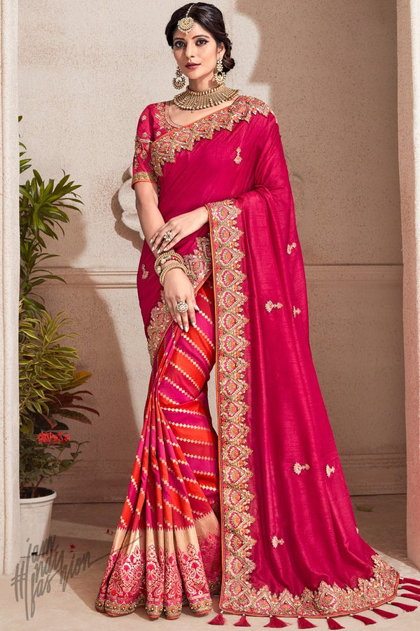 Burgundy Banarasi and Dola Silk Half and Half Saree