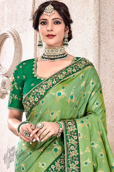 Green Banarasi and Dola Silk Half and Half Saree