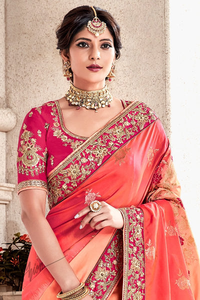 Pink and Peach Shaded Banarasi and Dola Silk Saree
