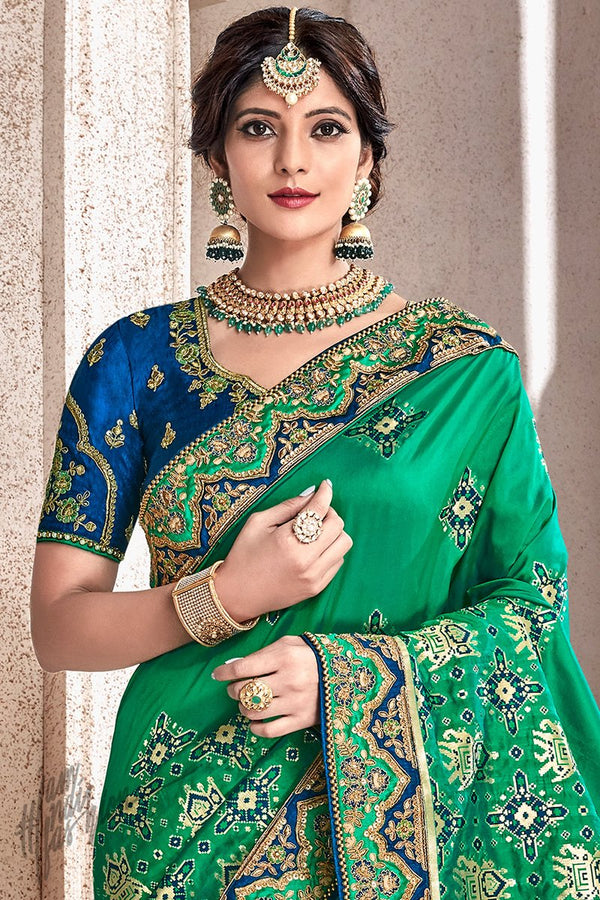 Green and Blue Banarasi and Dola Silk Saree