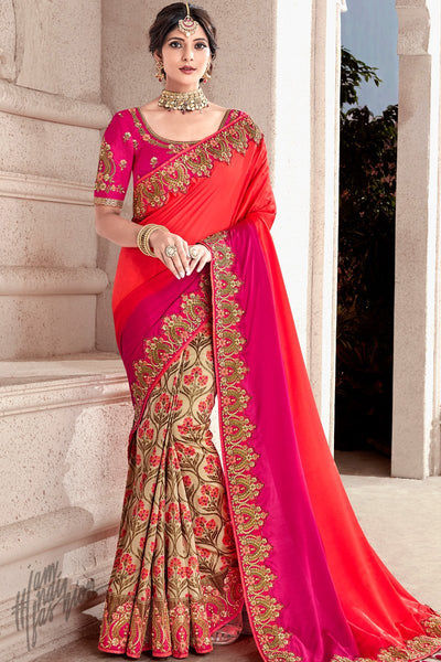 Red Magenta and Beige Banarasi and Dola Silk Half and Half Saree