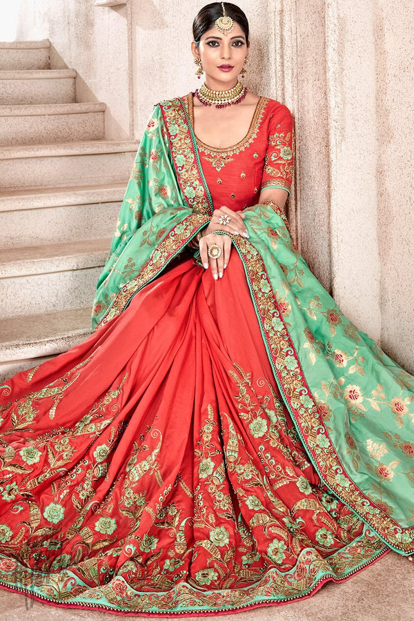 Green and Red Banarasi and Dola Silk Half and Half Saree