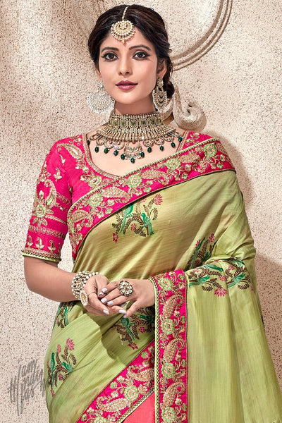 Olive Green and Pink Banarasi and Dola Silk Half and Half Saree