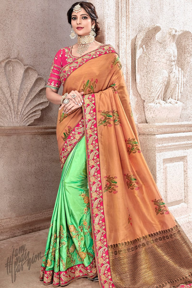 Rust and Mint Green Banarasi and Dola Silk Half and Half Saree