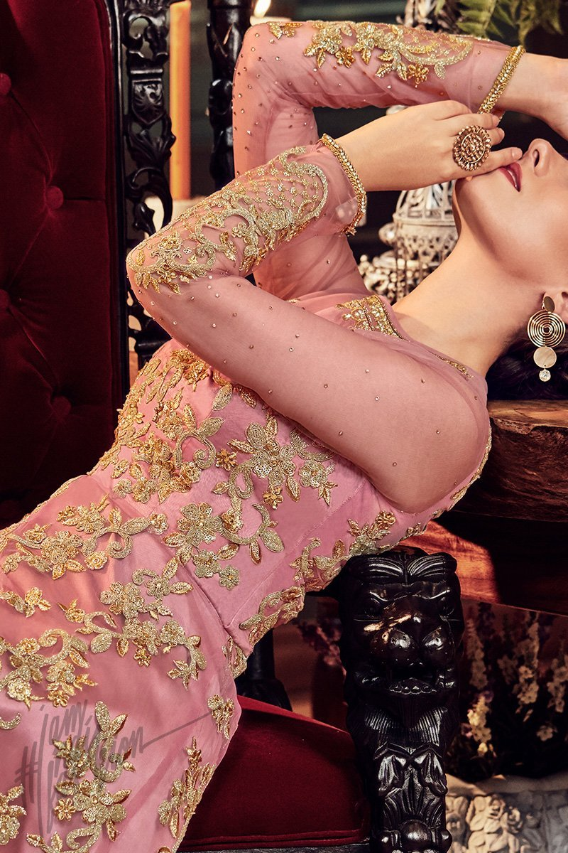Onion Pink Premium Net Anarkali Suit