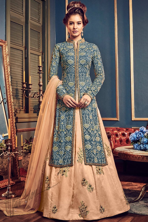 Blue and Peach Swiss Georgette Lehenga with Jacket