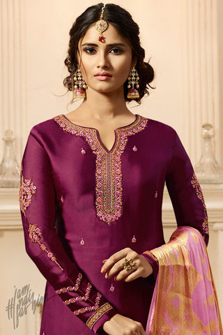 Wine and Light Purple Satin Georgette Palazzo Suit