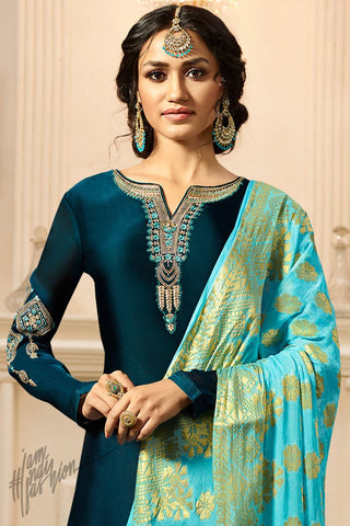 Peacock Blue and Sky Blue Satin Georgette Palazzo Suit