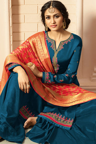 Blue and Red Satin Georgette Palazzo Suit