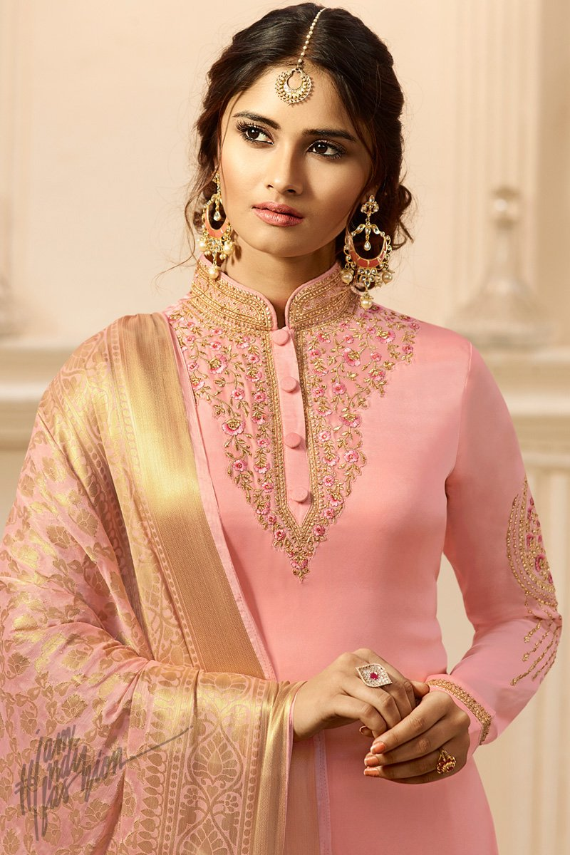 Pink Satin Georgette Palazzo Suit