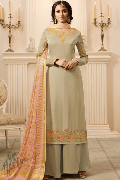 Light Mehandi and Pink Satin Georgette Palazzo Suit
