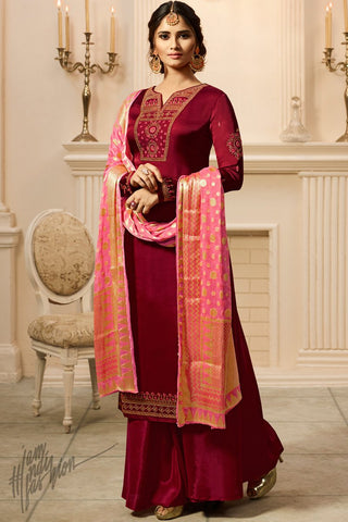 Maroon and Pink Satin Georgette Palazzo Suit