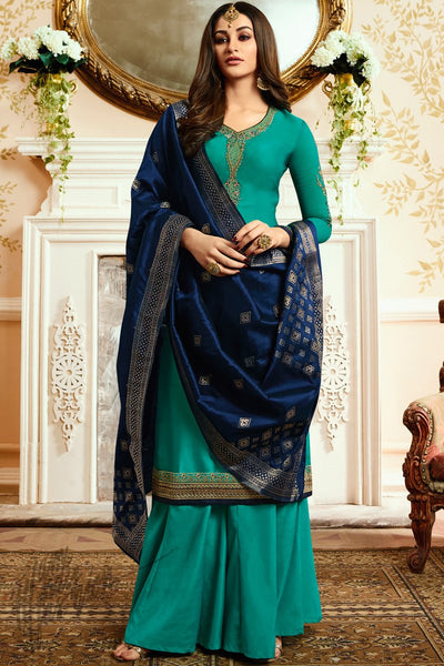 Green and Navy Blue Georgette Satin Palazzo Suit