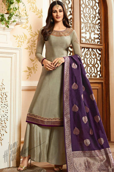 Light Brown and Purple Georgette Satin Palazzo Suit