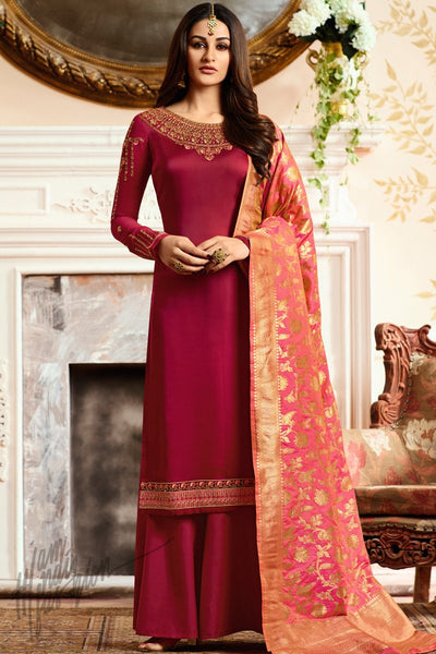 Red and Pink Georgette Satin Palazzo Suit