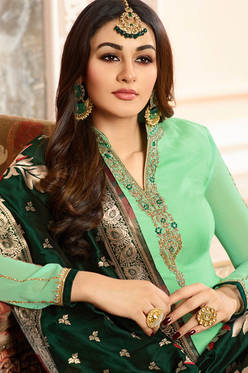 Mint and Bottle Green Georgette Satin Palazzo Suit
