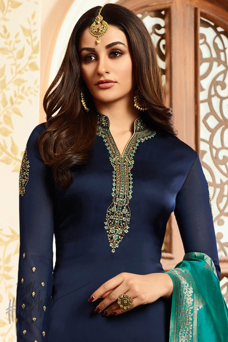 Navy Blue and Green Georgette Satin Palazzo Suit