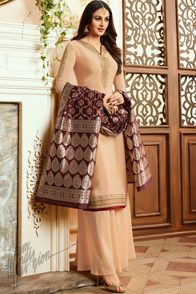 Light Peach and Wine Georgette Satin Palazzo Suit