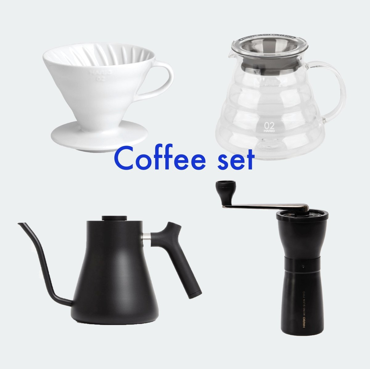Hario Brewing Set With Hand Grinder, Stagg Kettle + Coffee - Bean Bros.