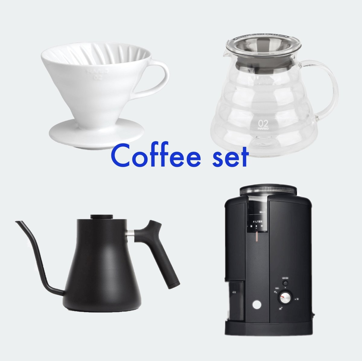 Hario Brewing Set with Wilfa Coffee Grinder, Stagg Kettle + Coffee - Bean Bros.