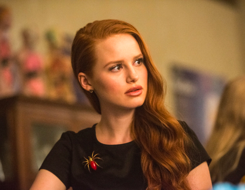 Riverdale Star and style icon Madelaine Petsch who plays Cheryl Blossom wearing Brooch Goldlust LDN