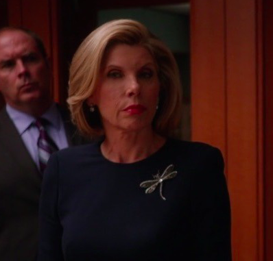 Diane Lockhart played by Christine Baranski in The Good Wife wearing Brooch similar to Goldlust LDN