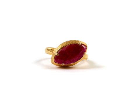 Goldlust LDN Ruby Oval Ring in 18k Gold